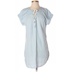Aerie Light Blue Chambray Lace Up Dress